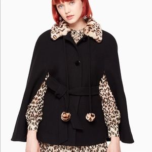 NWT Kate Spade leopard collar belted cape